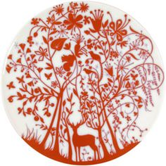 Authentics Table Stories Teller Flach Deer In Forest Porzellan Tord Boontje, Deer Pattern, Xmas Holidays, Teller, Red And White, House Design, Plates, Christmas Ornaments, Studio