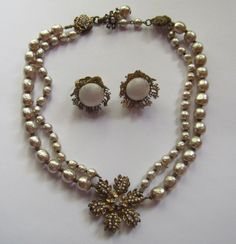 Vintage Miriam Haskell Baroque Pearl Necklace and Angel Skin White Earrings US $100.00 0 bids | Buy It Now for US $199.00