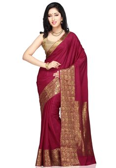 Dark Fuchsia Pure Mysore Silk Saree with Blouse: STC301