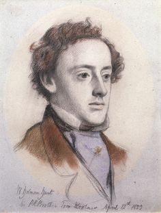 Portrait of Sir John Everett Millais by William Holman Hunt, 12 April 1853. Drawing on cardboard. National Portrait Gallery, London. Artwork states: 'his PR Brother Thomas Woolner'