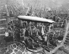 USS Los Angeles (ZR-3) of the US Navy over Manhattan, 1930. (Image: U.S. Naval…