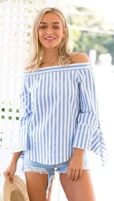Blue Off the Shoulder Vertical Striped Bell Sleeve Top