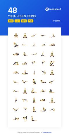 Yoga Poses  Icon Pack - 48 Flat Icons Flat Icons, Png Icons, More Icon, Icon Pack, Icon Font, Flat Design, Yoga Poses, Gym Workouts, Fonts