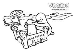 Dibujos colorear verano - castillo de arena -- Summer, Glumpers character cartoon coloring pages