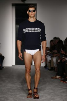 Michael Bastian Men's RTW Spring 2013....I love those sandals! He's not so bad himself. But the sandals are amazing!