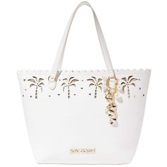 Betsey Johnson Coconuts About You Tote ($108) ❤ liked on Polyvore featuring bags, handbags, tote bags, cream fabric, white purse, white tote bag, oversized tote, metallic tote bag and betsey johnson handbags