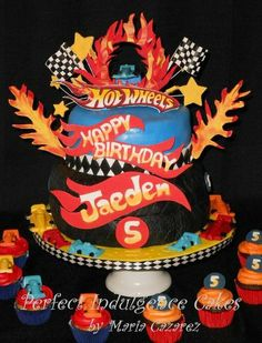 Hot Wheels Birthday Cake@Kristina Solloway.  I was thinking something like this but less flames :)