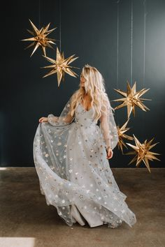Starstruck Gown Perfect gown for a celestial bride. Starstruck Gown Perfect gown for a celestial bride. Star Wedding, Sparkle Wedding, Table Wedding, Party Wedding, Wedding Blog, Wedding Ceremony, Wedding Dress Trends, Designer Wedding Dresses, Designer Gowns