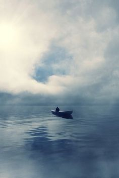♂ Solitude nature Ocean and Clouds man and boat