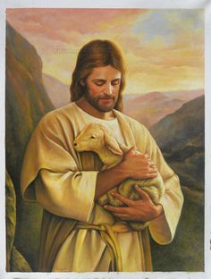Jesus Christ with Lamb - high quality hand-painted oil painting reproduction (48 x 36 in., Promotion)