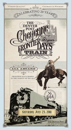 This is a recent poster, but it brought back memories of a family vacation in 1957 when this event was a highpoint of the trip. Cheyenne Frontier Days Train Poster #train #poster