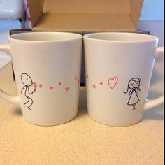 Rezultat iskanja slik za diy mug love couple Crafts To Sell, Diy And Crafts, Arts And Crafts, Spring Projects, Projects To Try, Couple Mugs, Diy Mugs, Diy Gifts For Boyfriend, Funny Coffee Mugs