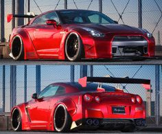 Liberty Walk lb works complete type 1 wide body kit with version 1 rear wing (frp) for Nissan GTR Expensive Sports Cars, Exotic Sports Cars, Exotic Cars, Tuner Cars, Jdm Cars, Nissan Gtr R35, Wide Body Kits, Car Racer, Liberty Walk