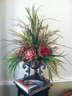 Large Floral Arrangements, Artificial Flower Arrangements, Floral Centerpieces, Artificial Flowers, Floral Flowers, Silk Flowers, Red Hydrangea, Church Flowers, Arte Floral