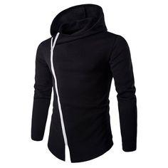 5a55c36167 Stylish Diagonal Zipper Design Long Sleeves Hoodies For Men Mens  Sweatshirts