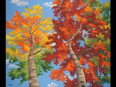 "How To Paint Trees Full Slow Video ""Apple Barrel"" Acrylics Canvas Lesson Art Class - YouTube"