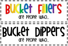 Bucket Fillers/ Bucket Dippers