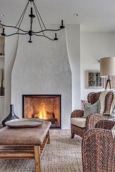 Stucco Fireplace, Home Fireplace, Fireplace Remodel, Fireplace Surrounds, Fireplace Design, Brick Fireplaces, Modern French Country, French Country Farmhouse, Farmhouse Design