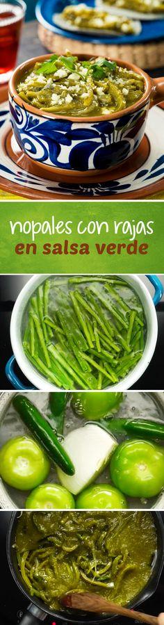 Receta con nopales mexicanos y rajas de chile poblano en salsa verde de tomatillo. Esta receta mexicana es perfecta para vegetarianos o para temporada de #cuaresma ya que no tiene carne y es muy económica.