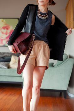 Outfit Of The Yesterday: Black + Navy + Camel + Burgundy (& The Lovely LOFT Lace Edged Shell, Too) - t h e (c h l o e) c o n s p i r a c y : fashion + life + style