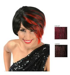 Rhiana Synthetic Short Hair Wig - COLOR: Black w/ Fire Red Highlights