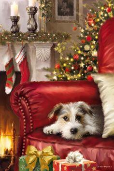 Cosy Christmas, Snoopy Christmas, Christmas Puppy, Christmas Gift Box, Christmas Scenes, Christmas Animals, Vintage Christmas Cards, Vintage Holiday, Cute Christmas Wallpaper