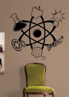 Science Atom Design Decal Sticker Wall Vinyl Art Home Room Decor Teacher School Educational Classroom, Science AtomThe latest in home decorating. Beautiful wall vinyl decals, that are simple to apply, are a great accent piece for any room, come in. Vinyl Wall Decals, Wall Stickers, Sticker Vinyl, Science Bedroom, Science Room Decor, School Murals, Custom Paint Jobs, Science Art, Science Quotes