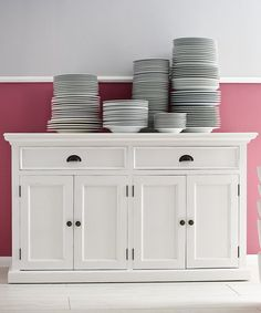 Store your extra dinnerware, flatware, and table linens in a buffet table or sideboard. Shop our great selection of stylish buffet tables and sideboards. White Sideboard Buffet, White Buffet, Solid Wood Sideboard, Dining Buffet, Kitchen Buffet, Large Sideboard, Buffet Cabinet, Room Kitchen, Cabinet Doors