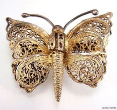 Vtg-Antique-Victorian-French-Gold-Washed-835-Silver-Filigree-Butterfly-Brooch