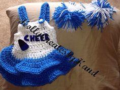 Crochet baby cheerleader photo prop  0-3 3-6 by HollyCreatesbyHand