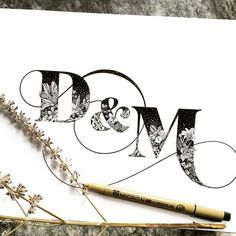 black and white ombre monogram, typography, botanical