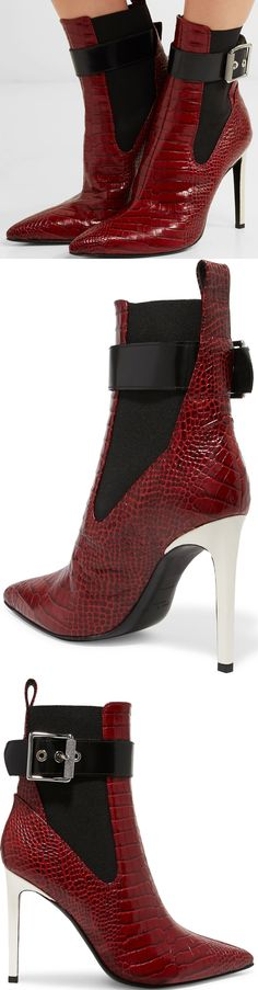 Red boots are one of the biggest shoe trends for Fall '17, and they instantly make any outfit you style them with look more striking. Made in Italy from tactile croc-effect leather, rag & bone's 'Wren' pair has a black buckled strap and elasticated side panels so they slip on and off with ease, but still have that slim sock-like silhouette that's so cool this season.