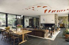 Eliot Noyes | Eliot Noyes House | New Canaan, Connecticut | 1954 - a very eye-catching Calder mobile hangs above the dining area.