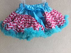 Baby Toddler Girls Pink and Turquoise Chevron Pettiskirt Tutu Skirt Fluffy Party by adorablebyme on Etsy