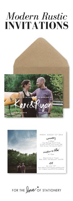 Modern Rustic Wedding Invitations   Brush Hand Lettering   Calligraphy Wedding Invitations   Engagement Photography   DIY Wedding Printables