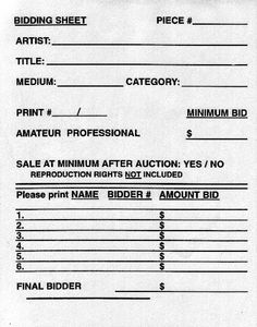 Silent Auction Bid Sheet  Estela Kennen  Funny Quotes