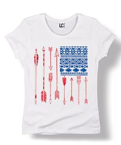 Look what I found on #zulily! White Geometric Arrow USA Flag Fitted Tee #zulilyfinds