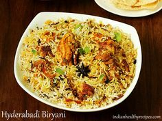 Hyderabadi chicken biryani recipe, the most delicious & flavorful dum chicken hyderabadi biryani any one can make using this recipe with step by step photos Chicken Biryani Recipe Hyderabadi, Chicken Dum Biryani Recipe, Hyderabadi Cuisine, Chicken Recipes, Cooking Basmati Rice, Veg Dishes, Rice Dishes, Vegetable Dishes, Indian Food Recipes