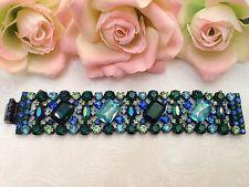 Vtg Early Unsigned SCHREINER Shades of Blue & Green Rhinestones Bracelet SUPERB!