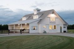 This horse barn was built for Kari & Stu of Oconomowoc, WI Special Features: Morton's Hi-Rib Steel Shingled Roof Cupola Dormers Porch...