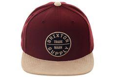 Brixton Oath Snapback Hat - Maroon, Khaki | Hat Club