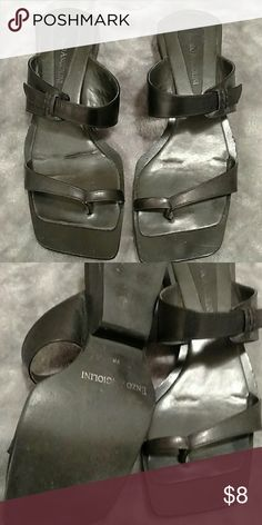 ENZO ANGIOLINI Slides Loved shoes needing a new home. Have been worn quite a bit because they are so comfortable. Wear with about anything. Leather made in Brazil Enzo Angiolini Shoes Sandals