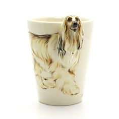 Afghan Hound Mug 00003  Original hand sculpt and hand paint   Afghan Hound Dog Mug  This Mug using a durable Stoneware Clay high fired at 1,250 Degrees Celsius for more durability.  Hand Sculpted and Painted featured Afghan Hound Head Handle. Hand Painted underglaze ceramic color on my own styles and techniques and then coating in clear glaze.  www.muddymood.com