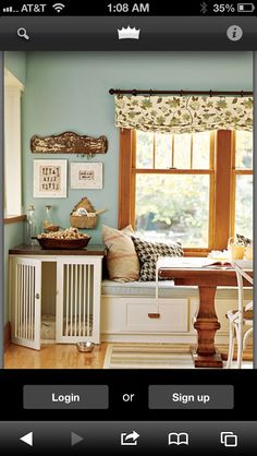 Natural wood trim with Pale Blue wall color