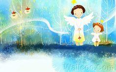 Kim Jong Bok Illustrations(Vol.03) - Cartoon Cute Fairy Girl  - Art Illustration : Two Lovely Little Angles Girls 2