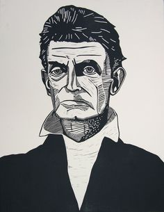 John Brown linocut portrait by Valerie Wallace #linocut #art