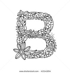 Floral Alphabet Letter Coloring Book For Adults Vector Illustration Zentangle Style Font