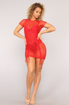 Nothing But A Sheer Thing Mesh Dress - Red