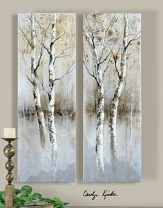 Uttermost Birch Tree Panels Wall Art Painting - Set Of 2 ( 41810 ) Birch Tree Art, Tree Wall Art, Tree Artwork, Birch Trees Painting, Abstract Tree Painting, Abstract Canvas, Oil Painting On Canvas, Canvas Art, Hand Painted Canvas