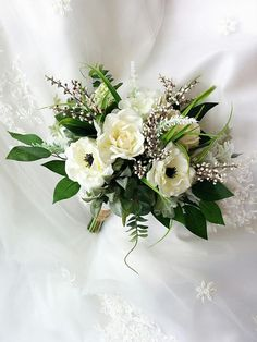 Rustic Boho Garden Inspired Wedding Natural Touch Ivory Roses Gardenias Anemones Hydrangeas Eucalyptus Dusty Miller Silk Wedding Bouquet
